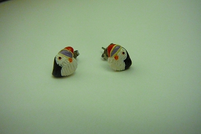 Polymer Clay Puffin Post Earrings