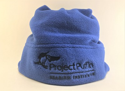 Blue Fleece Hat with Black Project Puffin Logo
